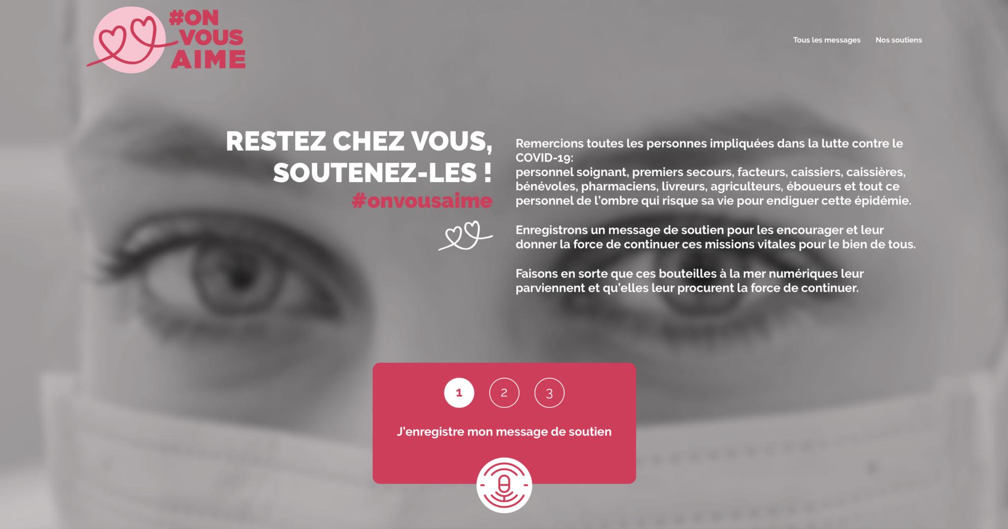 Onvousaime.fr une plateforme de bienveillance et de soutien du personnel qui fait face au Covid19. ADN.Ai s'engage et est solidaire.